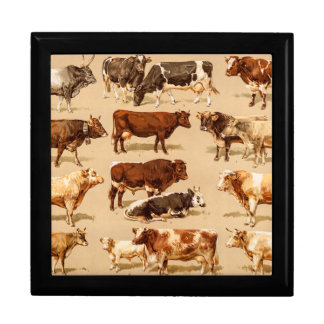 Vintage Cow Calf Bull Dairy Cows Farm Illustration Keepsake Box