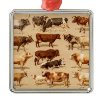 Vintage Cow Calf Bull Dairy Cows Farm Illustration Metal Ornament