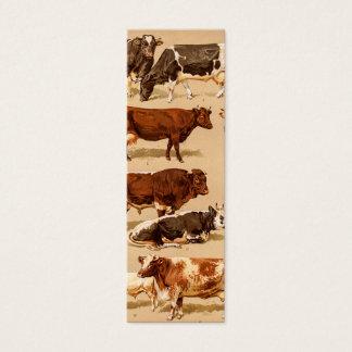 Vintage Cow Calf Bull Dairy Cows Farm Illustration Mini Business Card