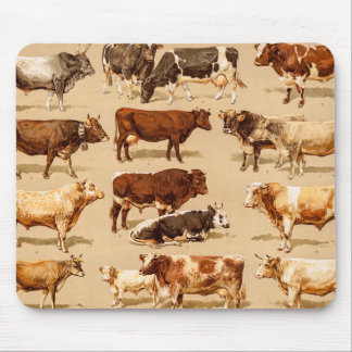 Vintage Cow Calf Bull Dairy Cows Farm Illustration Mouse Pad