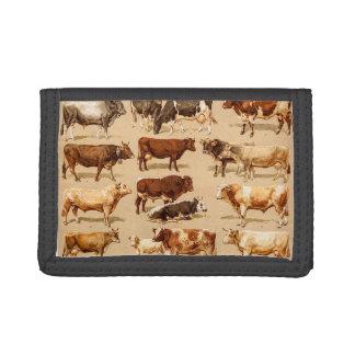 Vintage Cow Calf Bull Dairy Cows Farm Illustration Tri-fold Wallet