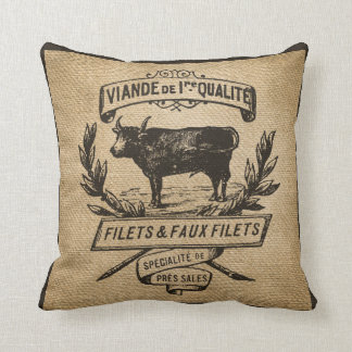 Vintage Cow Deli Advertisment Burlap Throw Pillow