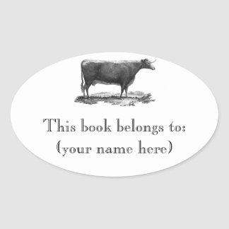 Vintage cow etching bookplate oval sticker