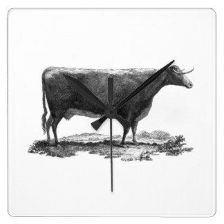 Vintage cow etching clock