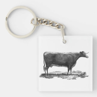 Vintage cow etching keychain