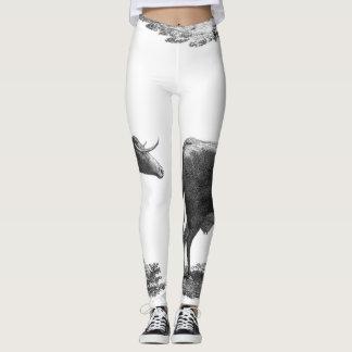Vintage cow etching leggings