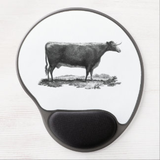 Vintage cow etching round mouse pad gel mouse pad