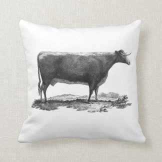 Vintage cow etching throw pillow