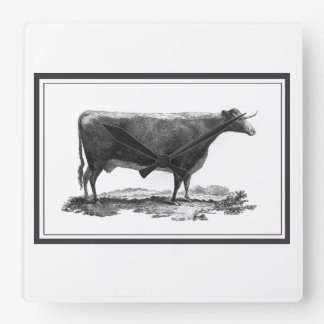 Vintage cow etching with borders clock