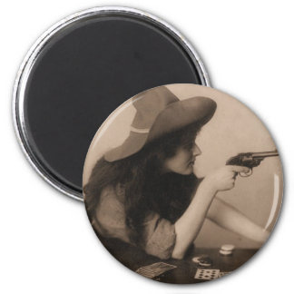 Vintage Cow Girl 2 Inch Round Magnet