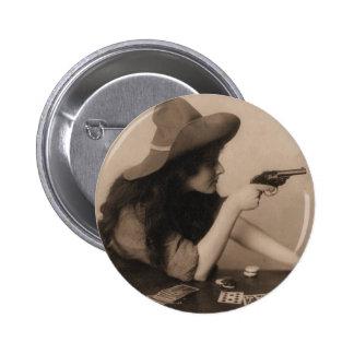Vintage Cow Girl Pinback Button