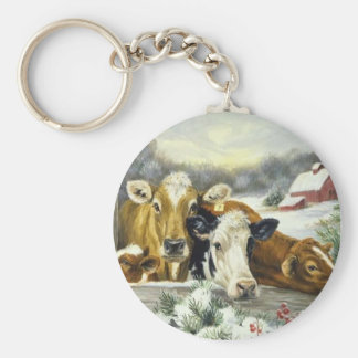 Vintage Cow Image Keychain