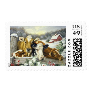Vintage Cow Image Stamps
