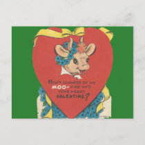 "Vintage ""Cow Moo"" Valentine Holiday Postcard"