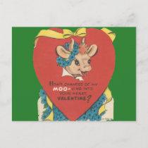 "Vintage ""Cow Moo"" Valentine Holiday Postcard"