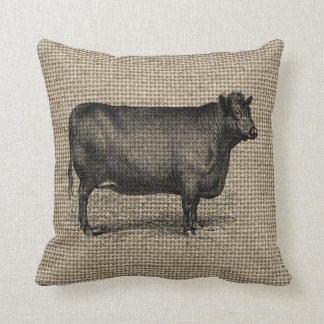 Vintage Cow on Burlap Pillow