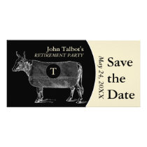 Vintage Cow Retirement B Save the Date Monogram Card