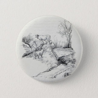 Vintage Cow Sheep in Field Stream Meadow Print Button