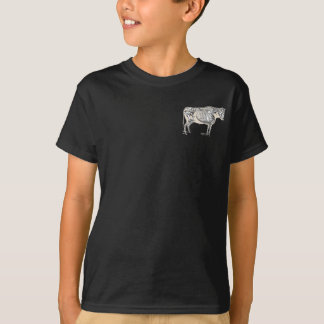 Vintage Cow Skeleton Drawing Artwork T-Shirt