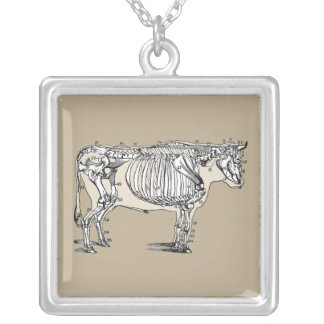 Vintage Cow Skeleton Silver Plated Necklace