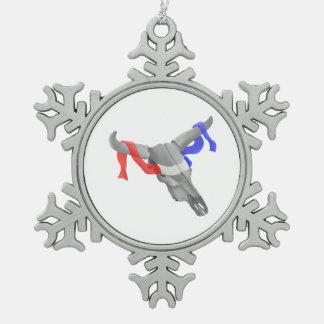 Vintage Cow Skull Patriotic Ribbon Snowflake Pewter Christmas Ornament