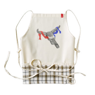 Vintage Cow Skull Patriotic Ribbon Zazzle HEART Apron