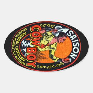 Vintage Cowboy Ale Oval Sticker