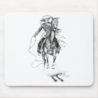 Vintage Cowboy and Horse Illustration Mouse Pad