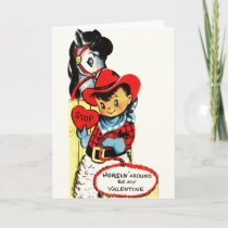 Vintage Cowboy and Horse Valentine's Day Card
