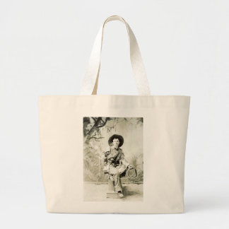Vintage Cowboy and Lasso circa 1900 Large Tote Bag
