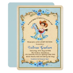 Vintage Cowboy Baby Shower Invitation Blue Fl