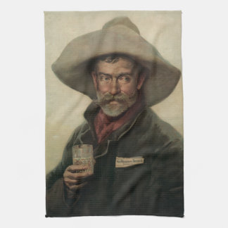 Vintage Cowboy Beer Ad Litho Bar Towel