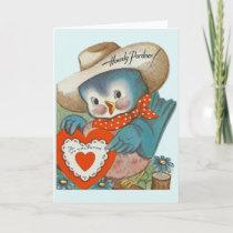 Vintage Cowboy Blue Bird Valentine Greeting Card