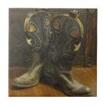 Vintage Cowboy Boots Ceramic Tile