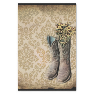 """vintage cowboy boots western country 10"""" x 15"""" tissue paper"""