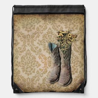 vintage cowboy boots western country art drawstring bag