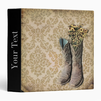 vintage cowboy boots western country damask binders