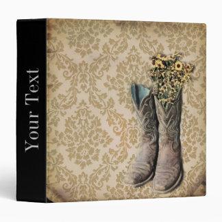 vintage cowboy boots western country damask binder
