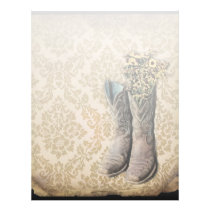 vintage cowboy boots western country damask letterhead