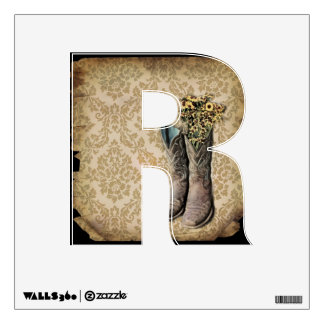 vintage cowboy boots western country damask wall sticker