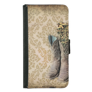 vintage cowboy boots western country wallet phone case for samsung galaxy s5