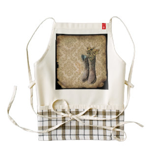 vintage cowboy boots western country zazzle HEART apron