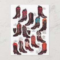 Vintage Cowboy Boots 'Wide Variety!' Postcard