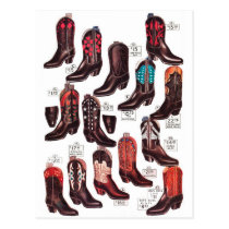 Vintage Cowboy Boots 'Wide Variety!' Postcard