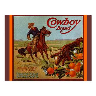 Vintage Cowboy Brand Fruit steer cattle Postcards
