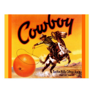 Vintage Cowboy Brand Tustin Fruit Crate Postcards
