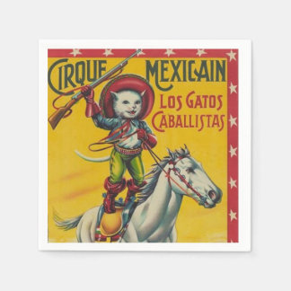 Vintage Cowboy Cat Mexican Circus Poster Napkin
