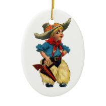 Vintage Cowboy Ceramic Ornament