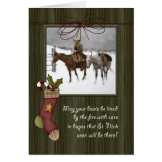 Vintage Cowboy Christmas   Barnwood Card