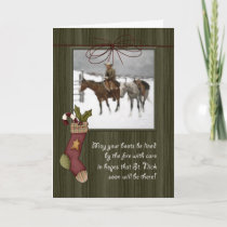 Vintage Cowboy Christmas | Barnwood Holiday Card